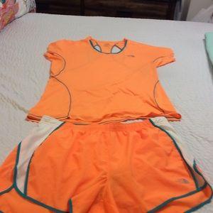 North Face running shirt and shorts.